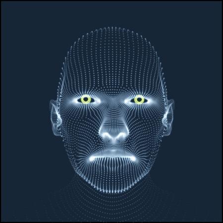 volti: Capo della persona da una griglia 3D. Modello testa umana. Scansione faccia. Veduta di testa umana. 3D geometrico disegno del fronte. 3d copertura della pelle. Geometria Man Portrait. Può essere utilizzato per Avatar, la scienza, la tecnologia