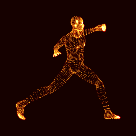 fight: Fighting Man. 3D Model of Man. Human Body Model. Body Scanning. View of Human Body. Vector Graphics Composed of Particles.