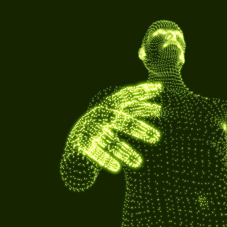 human vector: Man. 3D Model of Man. Human Body Model. Body Scanning. View of Human Body. Vector Graphics Composed of Particles.