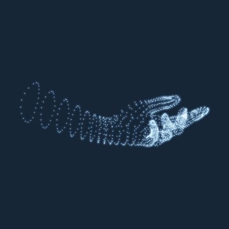 인간의 팔. 인간의 손 모델입니다. 손 스캐닝. 인간의 손보기. 3D 기하학적 디자인. 3 차원 피부를 커버. 과학, 기술, 의학, 첨단 기술, 공상 과학 소설에  일러스트