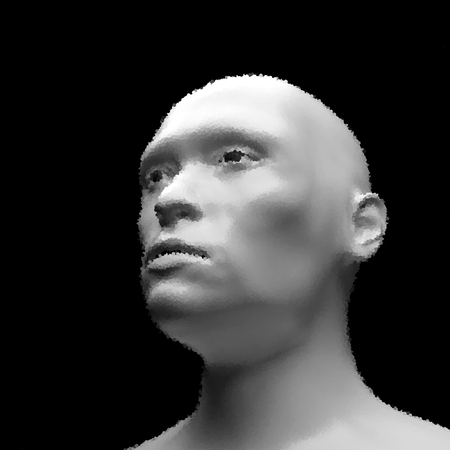 bionics: Cyborg, Android, Robot. Realistic Vector Humanoid Robot. View of Human Head. Stipple Effect. Vector Art. Dot Design. Pointillism Style. Face Scanning.