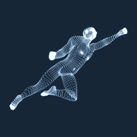 jump up: Jumping Man. Vector Graphics Composed of Particles. 3D Model of Man. Human Body Model. Body Scanning. View of Human Body.