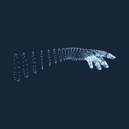 virtual sculpture: Human Arm. Human Hand Model. Hand Scanning. View of Human Hand. 3D Geometric Design. 3d Covering Skin. Can be used for Science, Technology, Medicine, Hi-Tech, Sci-Fi.