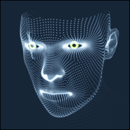 Head of the Person from a 3d Grid. Human Head Model. Face Scanning. View of Human Head. 3D Geometric Face Design. 3d Covering Skin. Geometry Man Portrait. Can be used for Avatar, Science, Technology Imagens - 54293891