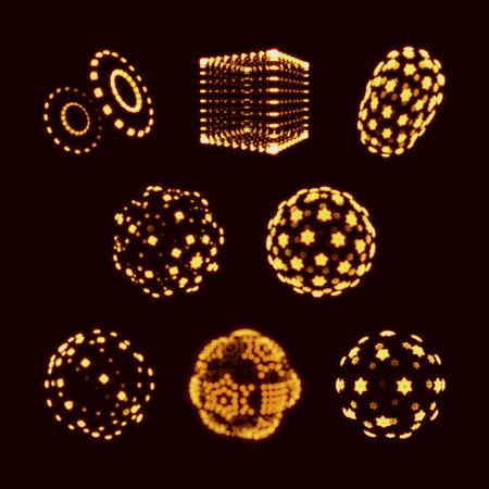 Esfera, cubo y cilindro. Ilustración que consiste en puntos. Resumen de diseño de cuadrícula 3D. Una cuadrícula brillante. Estilo de la tecnología 3D. celosía Molecular. Diseño de red. Ciberespacio cuadrícula. Estructura de conexión. Ilustración de vector