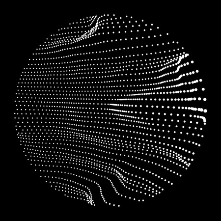 Wave Grid Background. 3d Abstract Vector Illustration. Ripple Grid. Cyberspace Grid. 3D Technology Style. Illustration with Dots. Network Design with Particle. Illustration