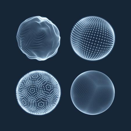 技术: 球體由點。摘要環球網格。球插圖。 3D網格設計。 3D技術風格。網絡 - 環球Design.Technology概念。矢量插圖。 向量圖像