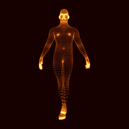 Man Stands on his Feet. 3D Model of Man. Human Body Model. Body Scanning. View of Human Body. Vector Graphics Composed of Particles. Illustration