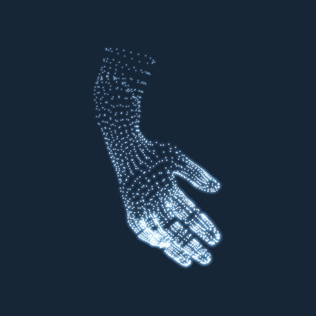 modeling: Human Arm. Human Hand Model. Hand Scanning. View of Human Hand. 3D Geometric Design. 3d Covering Skin. Can be used for Science, Technology, Medicine, Hi-Tech, Sci-Fi.