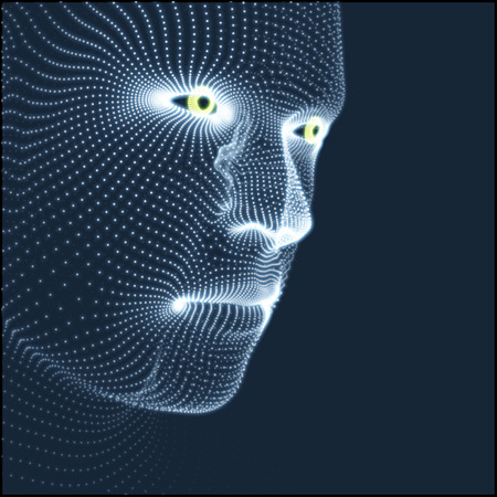 human head: Head of the Person from a 3d Grid. Human Head Model. Face Scanning. View of Human Head. 3D Geometric Face Design. 3d Covering Skin. Geometry Man Portrait. Can be used for Avatar, Science, Technology