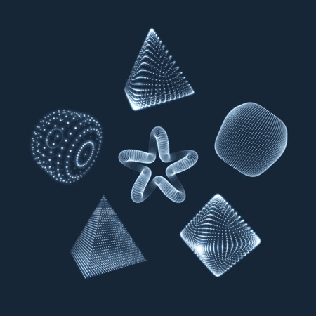 octahedron: Cylinder, Cube, Star and Octahedron. Illustration Consisting of Points. 3D Grid Design. Object with Dots. Geometric Shape for Design. Molecular grid. 3D Technology Style with Particle. Illustration