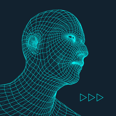 virtual sculpture: Head of the Person. Human Head Model. Face Scanning. View of Human Head. 3D Geometric Face Design. 3d Covering Skin. Geometry Man Portrait. Can be used for Avatar, Science, Technology, Business