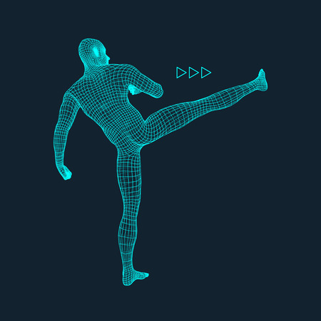 stance: Fighting Man. 3D Model of Man. Polygonal Design. Business, Science and Technology Vector Illustration. 3d Polygonal Covering Skin. Human Polygon Body. Human Body Wire Model. Illustration