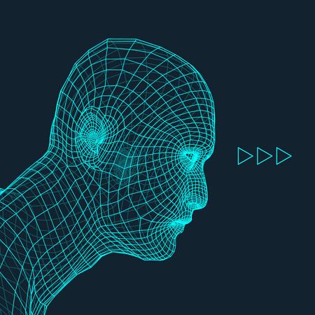 visage profil: Chef de la personne à partir d'une grille 3D. Modèle de tête de fil humain. Head Polygon humaine. Numérisation de visage. Vue de Tête humaine. 3D conception géométrique visage. Peau 3D polygonale Covering. Géométrie Polygon Man Portrait.