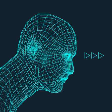 male face profile: Head of the Person from a 3d Grid. Human Head Wire Model. Human Polygon Head. Face Scanning. View of Human Head. 3D Geometric Face Design. 3d Polygonal Covering Skin. Geometry Polygon Man Portrait.