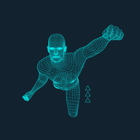 covering: Jump Man. Polygonal Design. 3D Model of Man. Geometric Design. Business, Science and Technology Vector Illustration. 3d Polygonal Covering Skin. Human Polygon Body. Human Body Wire Model.