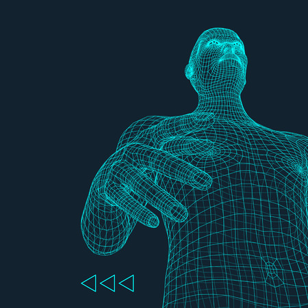 hands on head: Man. 3D Model of Man. Human Body Model. Body Scanning. View of Human Body. 3D Geometric Design. 3d Covering Skin. Can be used for Avatar, Science, Technology and Business.