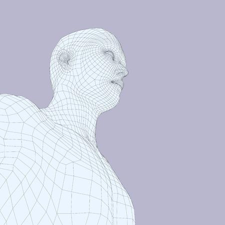 Szef osoby z siatki 3d. Human Head drut modelu. Polygon Human Head. Skanowanie twarzy. Zobacz ludzkiej głowy. Projektowanie 3D Geometria twarzy. 3d Łamana warstwa skóry. Geometria Polygon Man Portrait.