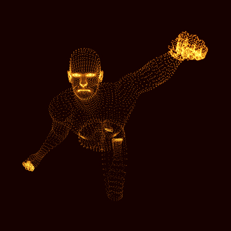 modeling: Fighting Man. 3D Model of Man. Human Body Model. Body Scanning. View of Human Body. Vector Graphics Composed of Particles.