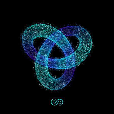signo infinito: Nudo del trébol. Ilustración del vector 3D. Ilustración que consiste en puntos. Diseño de cuadrícula 3D. Objeto con los puntos. Forma geométrica para el diseño. Red molecular. Estilo Tecnología 3D con partículas.