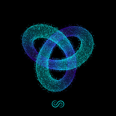 torus: Trefoil Knot. Vector 3D Illustration.  Illustration Consisting of Points. 3D Grid Design. Object with Dots. Geometric Shape for Design. Molecular grid. 3D Technology Style with Particle. Illustration