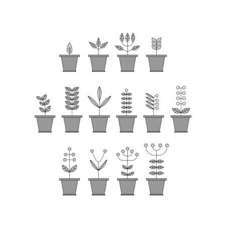 flowerpot: Set with Flowerpot Icons. Nature Collection. Flora Elements. Eco Signs. Vector Illustration.