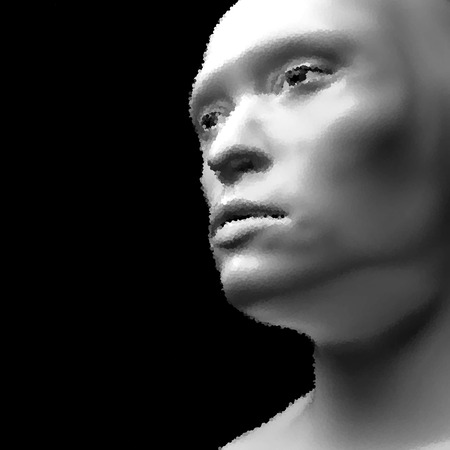 physiognomy: Cyborg. Realistic Vector Humanoid Robot. View of Human Head. Stipple Effect.
