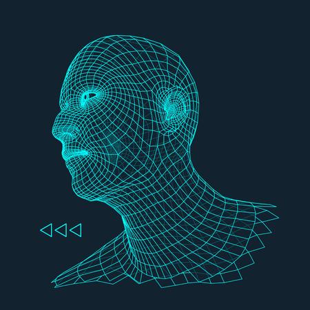 Jefe de la persona de una rejilla 3d. Modelo de alambre cabeza humana. Cabeza humana polígono. Escaneo cara. Vista de la cabeza humana. Frente a diseño geométrico 3D. Piel 3D poligonal cubriendo. Retrato del hombre Polígono geometría.