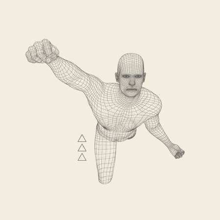 fighting: 3D Model of Man. Polygonal Design. Geometric Design. Business, Science and Technology Vector Illustration. 3d Polygonal Covering Skin. Human Polygon Body. Human Body Wire Model. Illustration