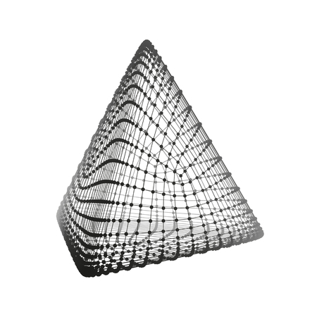 the polyhedron: Pyramid. Regular Tetrahedron. Platonic Solid. Regular, Convex Polyhedron. 3D Connection Structure. Lattice Geometric Element for Design. Molecular Grid. Wireframe Mesh Polygonal Element. Illustration