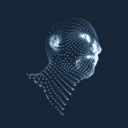 virtual sculpture: Head of the Person from a 3d Grid. Human Head Model. Face Scanning. View of Human Head. 3D Geometric Face Design. 3d Covering Skin. Geometry Man Portrait. Can be used for Avatar, Science, Technology