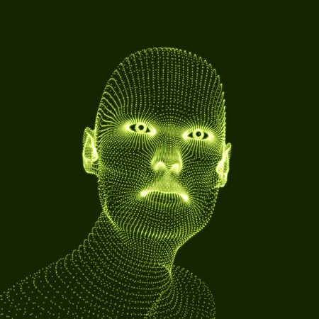 countenance: Head of the Person from a 3d Grid. Human Head Model. Face Scanning. View of Human Head. 3D Geometric Face Design. 3d Covering Skin. Geometry Man Portrait. Can be used for Avatar, Science, Technology