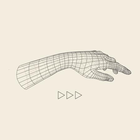 Brazo humano. Modelo de la mano humana. Exploración de la mano. Vista de la mano humana. Diseño geométrico 3D. 3d Cubrir la piel. Diseño poligonal. Puede ser utilizado para la ciencia, la tecnología, la medicina, de alta tecnología, de la ciencia ficción. Ilustración de vector