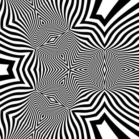 illusions: Pattern With Optical Illusion. Abstract Background. Optical Art. 3d Vector Illustration.