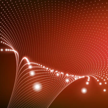 sectors: Abstract Tunnel Grid. Futuristic Technology Style. 3D Surface Looks Like Funnel. Glowing Points Form Tunnel Sectors. Turning Tube Tunnel. 3d Abstract Tunnel or Tube. Perspective Grid Background.