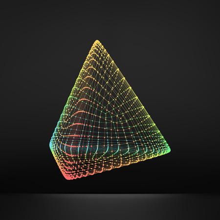 Pyramid. Regular Tetrahedron. Platonic Solid. Regular, Convex Polyhedron. 3D Connection Structure. Lattice Geometric Element for Design. Molecular Grid. Wireframe Mesh Polygonal Element. Illustration
