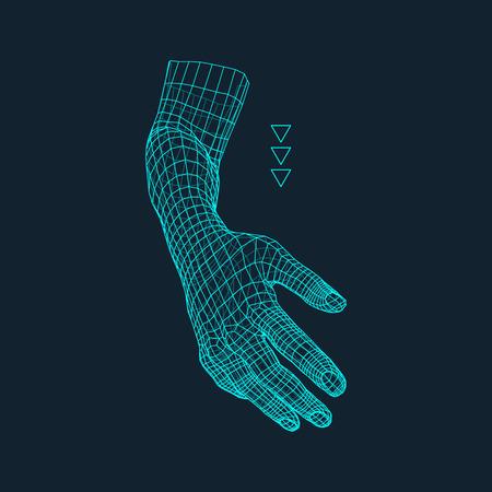 Brazo humano. Modelo de la mano humana. Exploración de la mano. Vista de la mano humana. Diseño geométrico 3D. 3d Cubrir la piel. Diseño poligonal. Puede ser utilizado para la ciencia, la tecnología, la medicina, de alta tecnología, de la ciencia ficción.