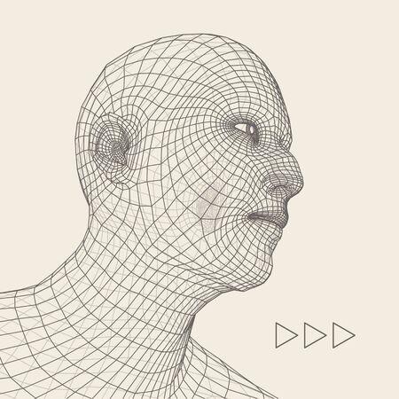 viso uomo: Capo della persona da una griglia 3D. Modello Filo testa umana. Umana Poligono Head. Scansione faccia. Veduta di testa umana. 3D geometrico disegno del fronte. 3d poligonale rivestimento cutaneo. La geometria Polygon Man Portrait.