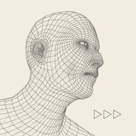 artificial: Head of the Person from a 3d Grid. Human Head Wire Model. Human Polygon Head. Face Scanning. View of Human Head. 3D Geometric Face Design. 3d Polygonal Covering Skin. Geometry Polygon Man Portrait.