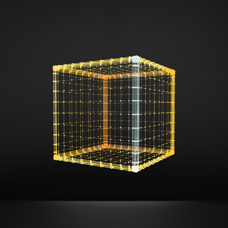 cuboid: Cube. Regular Hexahedron. Platonic Solid. Regular, Convex Polyhedron. 3D Connection Structure. Lattice Geometric Element for Design. Molecular Grid. Wireframe Mesh Polygonal Element.
