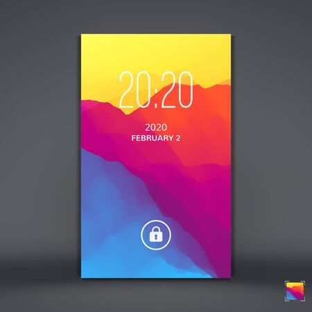 business card template: Modern Lock Screen for Mobile Apps. Vector Illustration.