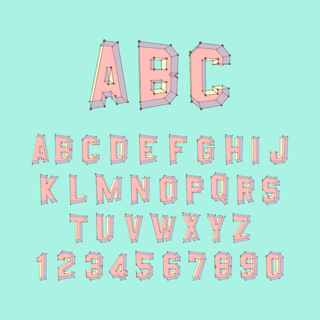 textual: Alphabet set. 3d vector illustration. Design elements.