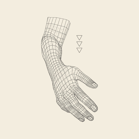 human hand: Human Arm. Human Hand Model. Hand Scanning. View of Human Hand. 3D Geometric Design. 3d Covering Skin. Polygonal Design. Can be used for science, technology, medicine, hi-tech, sci-fi.