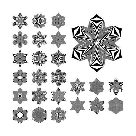 arte optico: Elementos abstractos del diseño. Arte óptico. Ilustración del vector.