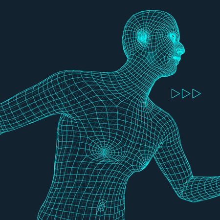 covering: Running Man. Polygonal Design. 3D Model of Man. Geometric Design. Business, Science and Technology Vector Illustration. 3d Polygonal Covering Skin. Human Polygon Body. Human Body Wire Model. Illustration