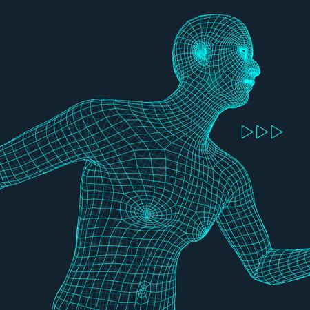 Running Man. Polygonal Design. 3D Model of Man. Geometric Design. Business, Science and Technology Vector Illustration. 3d Polygonal Covering Skin. Human Polygon Body. Human Body Wire Model. Illustration
