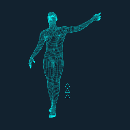 simulation: Man Pointing his Finger. 3D Model of Man. Geometric Design. Vector Illustration. 3d Polygonal Covering Skin. Human Polygon Body. Human Body Wire Model.