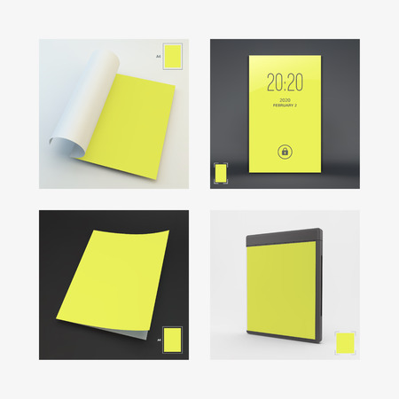 cd case: Blank Page Template for Design Layout. Modern Lock Screen for Mobile Apps. CD Disc Case. A4 Business Blank. 3d Vector Illustration.