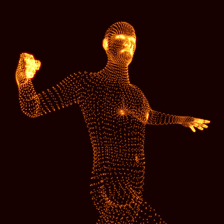 stance: Fighting Man. 3D Model of Man. Human Body Model. Body Scanning. View of Human Body. Vector Graphics Composed of Particles.