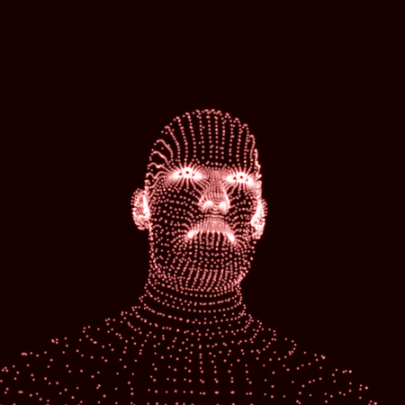 physiognomy: Head of the Person from a 3d Grid. Human Head Model. Face Scanning. View of Human Head. 3D Geometric Face Design. 3d Covering Skin. Geometry Man Portrait. Can be used for Avatar, Science, Technology